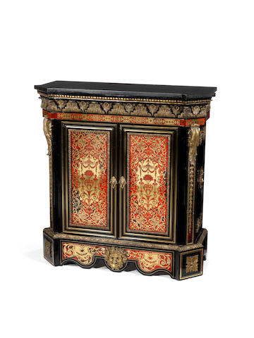 A French mid 19th century ormolu-mounted brass and red tortoiseshell Boulle marquetry ebonised meuble à hauteur d'appui