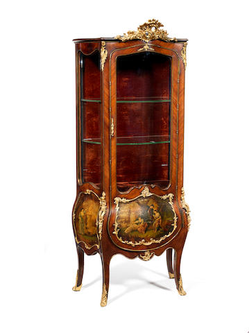 A Louis XV vitrine with vernis Martin panel