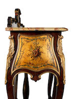 A French late 19th century ormolu-mounted satiné, parquetry and vernis Martin mirrored console
