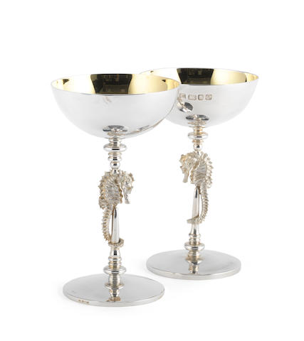 JOCELYN BURTON: Two silver 'Seahorse' champagne goblets London, 1996 and 1997  (2)