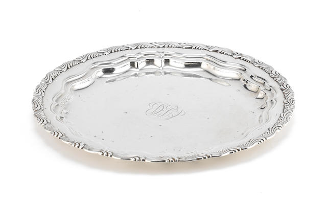 TIFFANY: A silver salver with patent and order numbers 3716 and 3234, with incuse marks TIFFANY & CO MAKERS STERLING SILVER 925-1000, circa 1895, marked used between 1891 - 1902