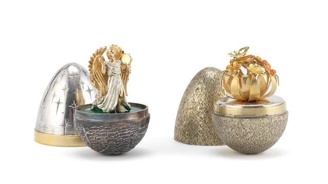 STUART DEVLIN: Two silver, silver and enamelled novelty surprise eggs  (2)