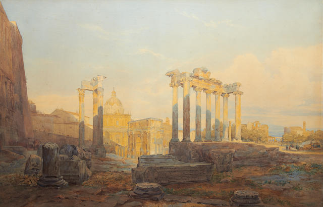 Arthur Glennie (British, 1803-1890) The Forum, Rome, from the school of Xanthus