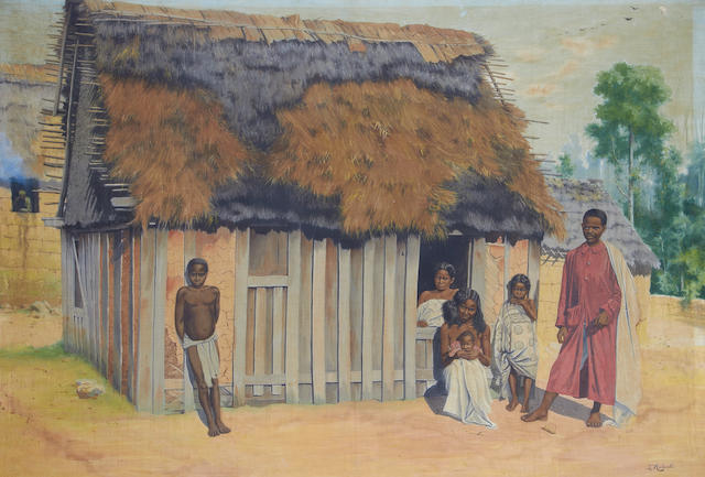 Emile Ralambo - watercolour on linen Madagascan family