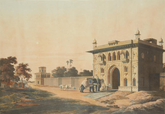 Thomas Daniell, RA (British, 1749-1840), and William Daniel, RA (British, 1769-1837) Three aquatints with hand colouring 1. 'View at Delhi, Near the Mausoleum of Humaioon', plate XIX 2. 'Gate of the Loll-Baug at Fyzabad', plate III 3. 'The Council House, Calcutta', plate III each 42 x 59.5cm (16 1/2 x 23 1/2in)(I). (3)