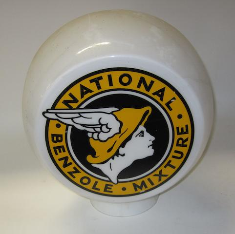 A replica National Benzole three sided glass petrol pump globe,