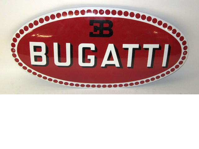 An enamel Bugatti sign,