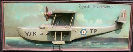 A wooden model Catalina sea plane,