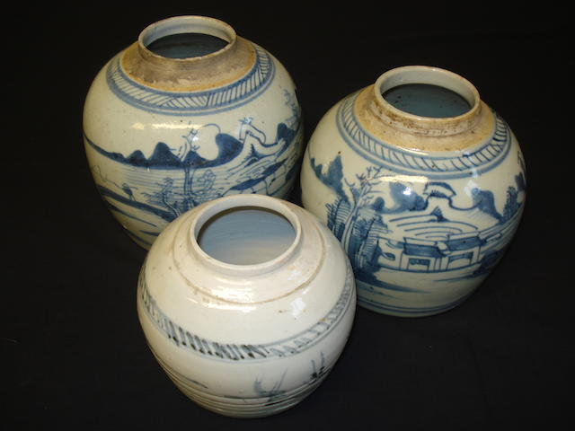Thee various ginger jars