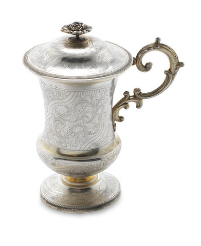 A mid 19th century Russian silver-gilt cup and cover possibly an alternative mark for Ivan Glasunov, Moscow 1849
