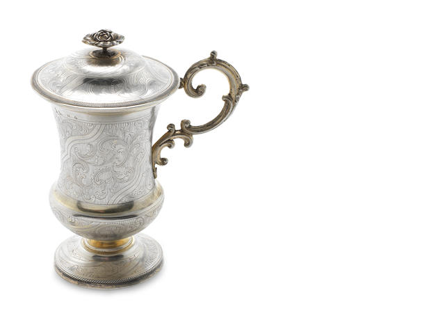 A mid-19th century Russian  silver-gilt cup and cover possibly an alternative mark for Ivan Glasunov, Moscow 1849