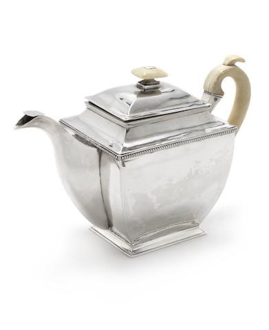A 19th century Russian silver teapot maker's mark rubbed, Moscow 1833