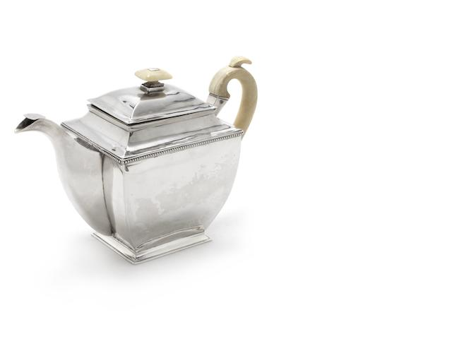 A19th century Russian silver teapot, of plain rectangular tapering form with beaded border & carved ivory handle, maker H.S & stamped 1833