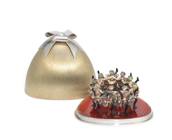 STUART DEVLIN : A cased silver, silver-gilt and enamelled surprise box 'The Ninth Day of Christmas - Nine Ladies Dancing' London 1978, limited edition numbered 7 of 100