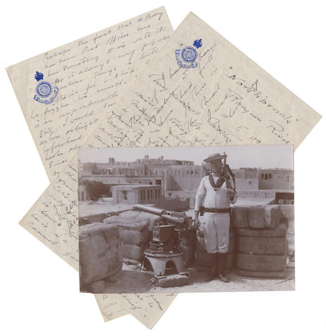 "BOWERS (HENRY ROBERTSON, 'Birdie') Long autograph letter signed (""Henry""), to his mother, written as the Northbrook reaches the Irrawaddy Delta, 1909; with a photograph"
