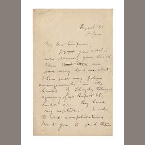 "MAWSON (DOUGLAS) Autograph letter signed (""Douglas Mawson"") to George Simpson, Scott's meteorologist on the Terra Nova, [1915]"