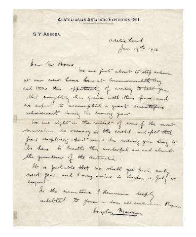 "MAWSON (DOUGLAS) Autograph letter signed (""Douglas Mawson""), to Mr Horne, written just before landing at Commonwealth Bay, 1912"