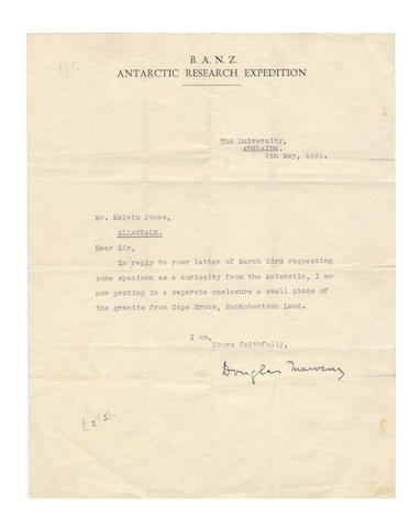 "AUSTRALIAN ANTARCTIC EXPEDITION, 1911-1914. MAWSON (DOUGLAS) Typed letter signed (""Douglas Mawson""), to Mr Melvin Jones, 1931; and another"