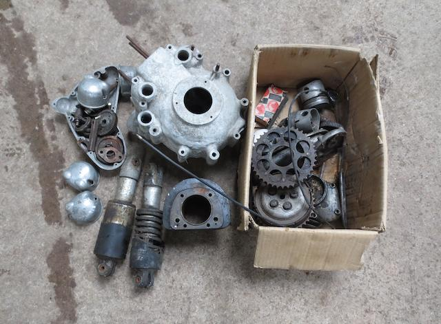 Various Matchless twin barrels, heads, timing cases and clutch components,