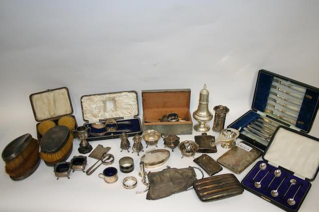 A silver four division cigar case Birmingham 1912  (Qty)