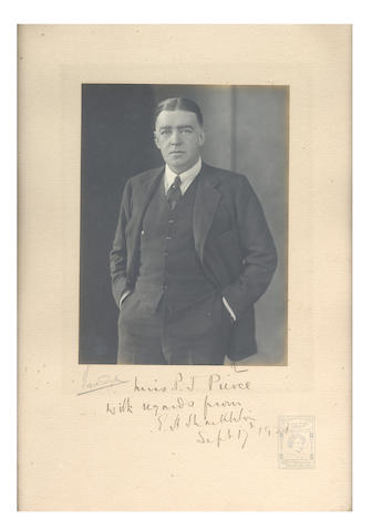 "SHACKLETON (ERNEST HENRY) A signed portrait of Shackleton, inscribed in ink ""Miss P.J. Pierce with regards from E.H. Shackleton Sept. 17th 1921,"" from the Vandyk Studio, together with a letter on Shackleton-Rowett Expedition headed paper, sending the photograph, dated September 21st 1921, to Miss Pierce from Shackleton's Secretary, James A. Cook stating: ""as Sir Ernest has given away only two or three of this ""sitting"" - the one he likes best - you may be sure that his sending you one is a mark of very real appreciation of you very kind help in his life's work"", gelatin silver print photograph 190 x 140mm., photograph and letter both framed and glazed September 1921 (2)"