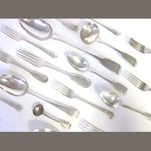 A set of six Admiralty pattern silver dessert forks by John Edward Birmingham for Walker & Hall, London 1877, together with a quantity of flatware (27)