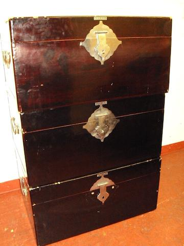 Three black lacquered 20th century dowry chests