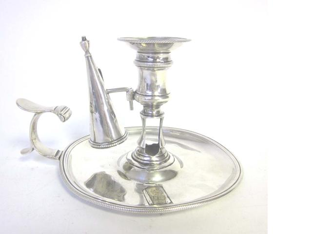 A George II silver chamberstick by John Cafe, London  1757 together with another similar chamberstick (2 + snuffers)