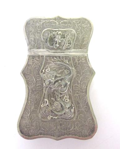 A late 19th century Chinese silver filigree card case apparently unmarked, together with a Belgian pill box and two unmarked table seals (4)