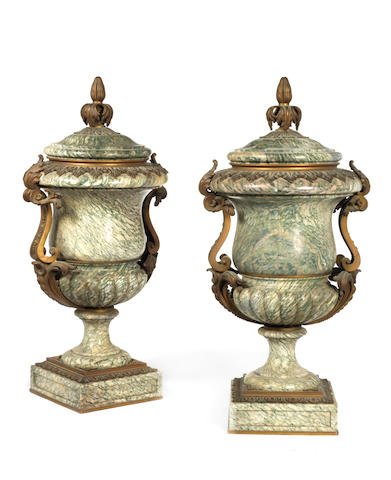 A pair of French mid-19th century ormolu-mounted Campan Vert marble urns