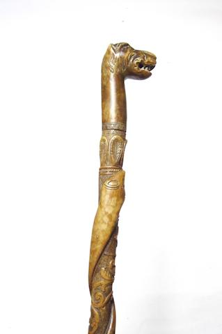 An Indian carved wood walking stick 19th century
