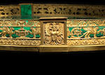 A Russian Empire gilt-bronze and malachite surtout de table