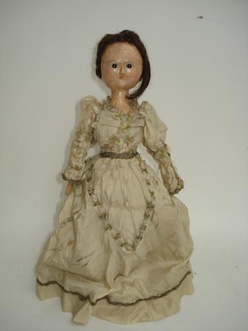 George III wooden doll, English circa 1770