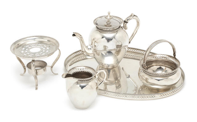 20th C Dutch coffeeservice, comprising coffeepot,with burner stand, jug , sugarbowl and tray