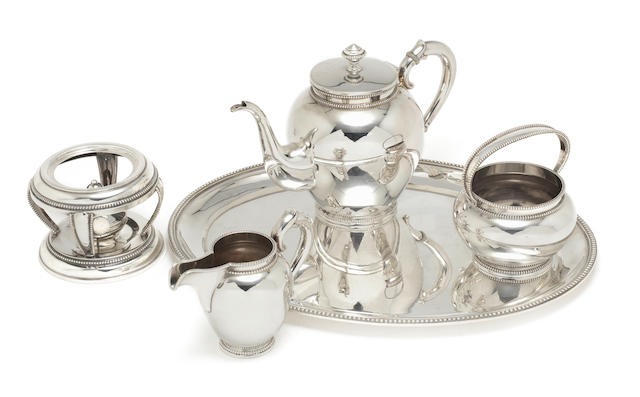 20th C Dutch coffeeservice, comprising coffeepot with burner stand,jug, sugarbowl, and tray