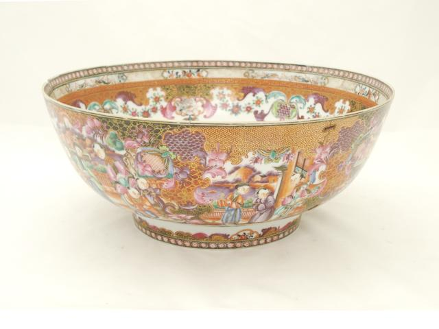 A Canton export famille rose punch bowl Circa 1800