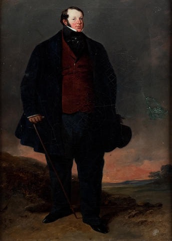 English School (19th century) Full length portrait of a stout gentleman