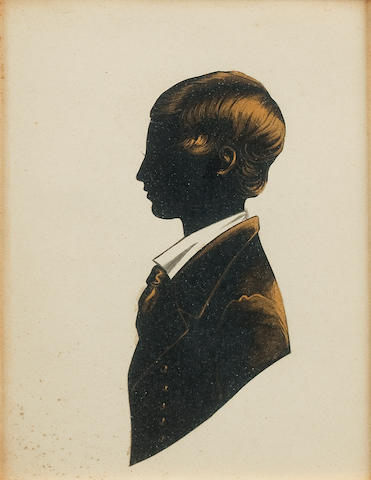 A collection of  portrait silhouettes  and remaining decorative pictures. (6)