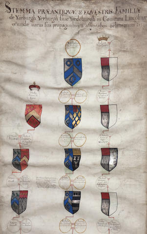 ANCIENT FAMILY TREE OF THE FAMILY OF YARBURGH Stemma Praeantiquae & Equestris Famillae de Yarburgh Yerburgh siun Yardeburgh in Comiraru Lincolniae...