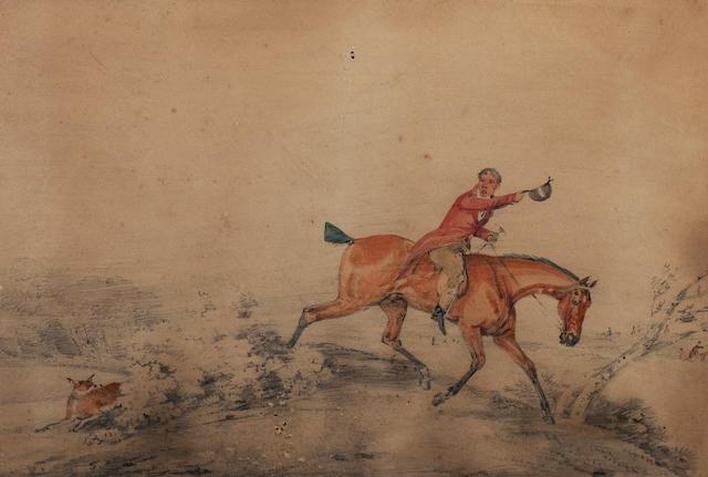 English School, 19th century Huntsmen and fox