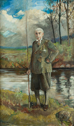 E. Chalmers, (20th century) Lord Stourton fishing south Esk