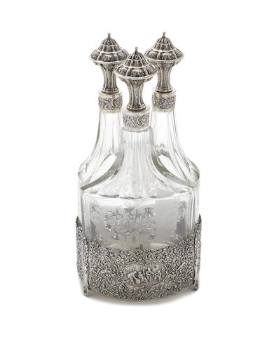 An early 20th century Dutch  silver liqueur stand by C & Dai Schoorl, Amsterdam, circa 1930