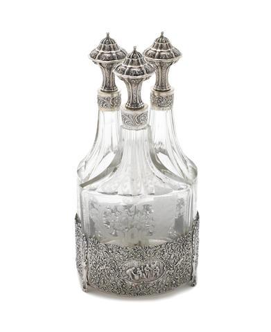 An early 20th century Dutch  silver liqueur stand by C & Dai Schoorl, Amsterdam, circa 1930
