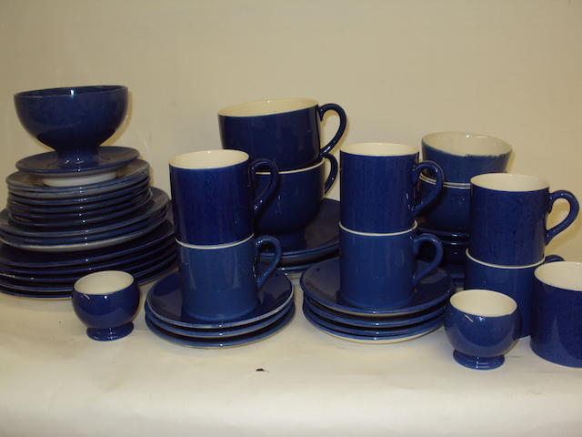 A Moorcroft powder blue part breakfast service