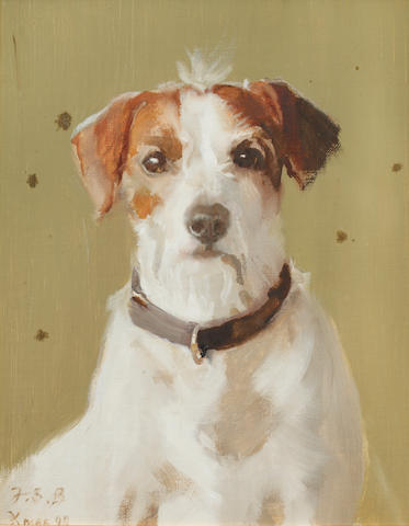 Frederick Samuel Beaumont (British, born 1861) Portrait of a brown and white terrier
