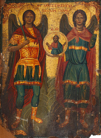 Greek, 19th century  Tha Archangels Michael and Gabriel