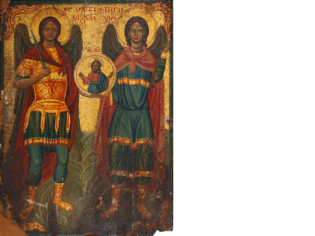 Greek, 19th century<BR /> Tha Archangels Michael and Gabriel