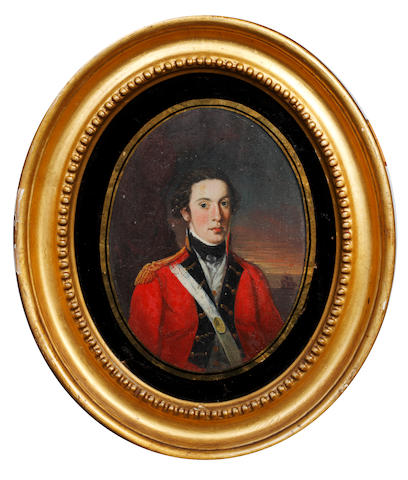 English School, circa 1770 Lieutenant Richard Webb (1755-1779) of the 9th Regiment (East Norfolk) of Foot wearing scarlet coat with dark blue and gold facings, gold epaulette, white waistcoat, frilled chemise and black stock, his white cross-belt bearing oval gilt-metal belt plate, worn over his right shoulder