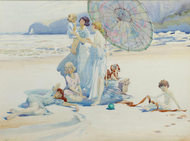 Charles Sims (British, 1873-1928) Family on a beach