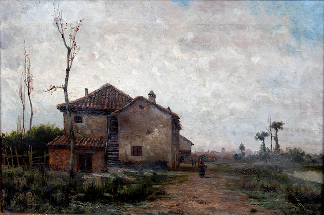 Aurelio Tolosa Alsina (Spanish, 1861-1938) Figures by village houses